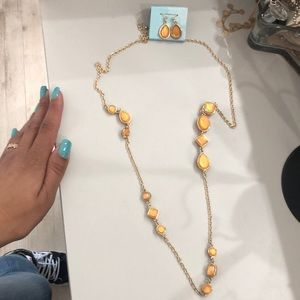 Jewelry - Long brown stone chain plus earrings